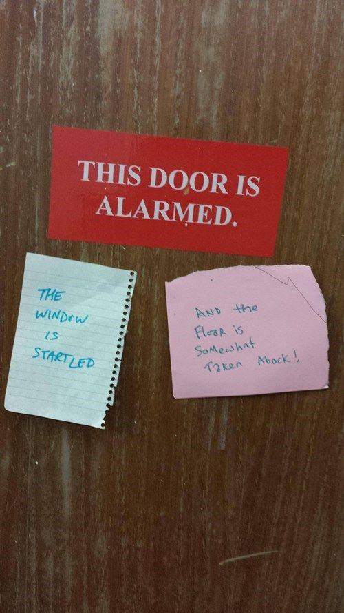 this door is alarmed joke