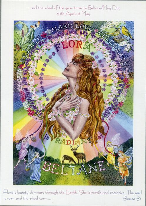 goddess beltane flora rainbow pagan