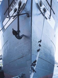 large ship and anchor low angle